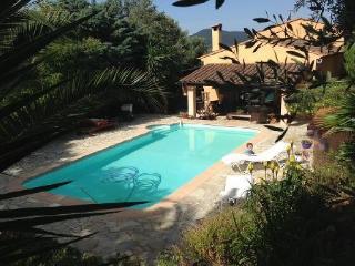 Grande maison avec piscine et jardin exotique
