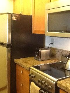 Kitchen area with refrigerator/freezer, microwave, stove/oven