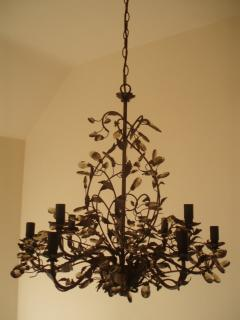 Chandelier on staircase