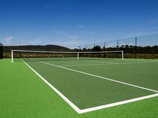 The pristine private tennis court