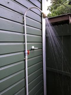 Outside shower available