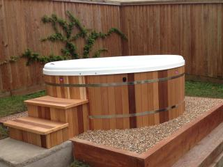 The Retreat Hot Tub in private garden not overlooked just steps from bedroom.