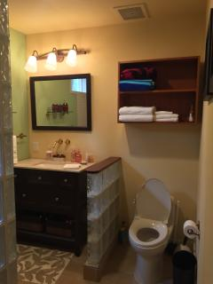 Guest Bathroom with updated vanities & fixtures.
