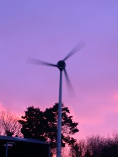 Our wind turbine. I couldn't resist taking this photo with such a beautiful sky