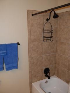 Hall bath tub with tile