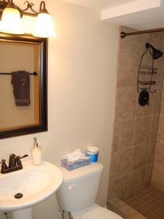 Basement bathroom has tile enclosed shower