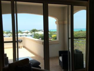 Living room view looking out to Grace Bay