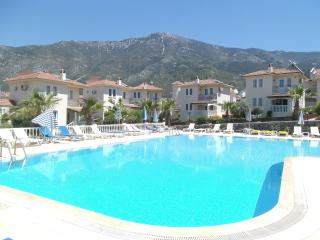 Pool area with toddlers splash pool set in well stocked & maintained gardens.