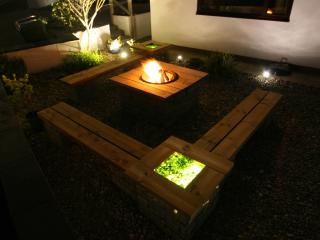 New bespoke barbecue seating area with sea glass mood lighting.