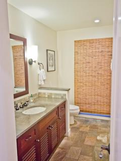 Bathroom 1, with large stone tile walk-in shower