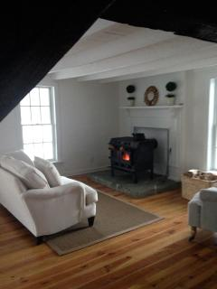 The 'Old Hickory' wood stove makes the living room cozy