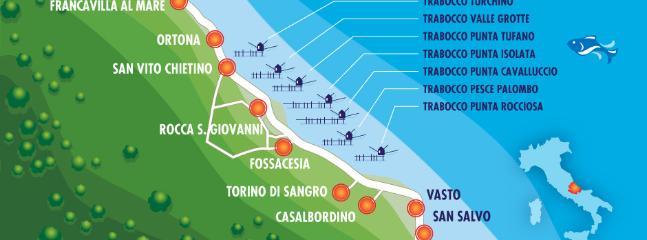 Mappa Costa dei Trabocchi ( distanza circa 10 / 15 KM )
