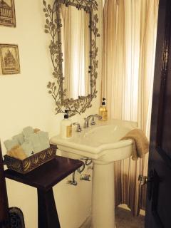 bathroom, (bath tub and shower)