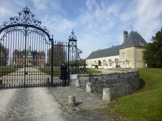 Entrance to the Chateau with the Orangery on the right hand side.