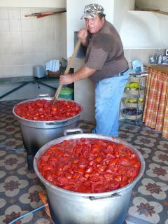 Preparazione della salsa di pomodoro nella cucina presso l'aia