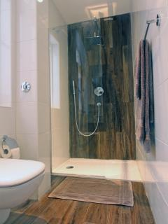 Spacious shower with both fixed and handheld shower heads.