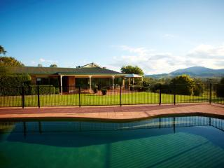 Salt water ingound pool and north facing terrace with outdoor dining setting and gas BBQ