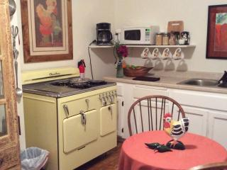 Cute vintage kitchen with the amazing 1952 Chambers Vintage Oven.