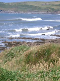 Croyde Bay just over 2 miles away, world class A frame fast short board wave - or just nice to watch