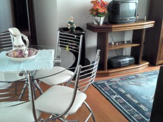 Mesa para refeições e sala de estar.