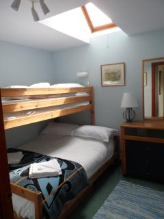 Bunk room - double bed with single bunk over