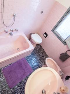 Small bathroom with bath, shower over, bidet and WC.  Water Boiler.