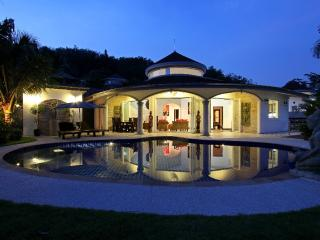 Front view of your villa at sunset.