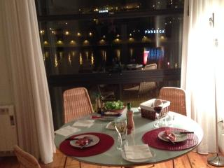 night time dining with river view