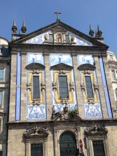 Typical tiled house in old Porto