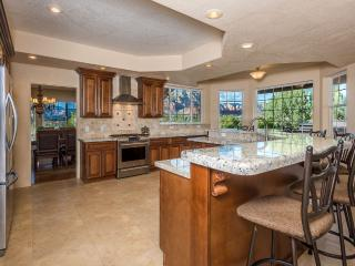 Large modern kitchen with double ovens, gas cook top, microwave, dishwasher, refrigerator and more.