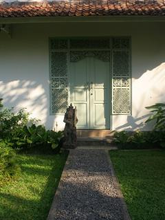 Carved Front Door to Garden Cottage