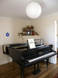 Living room 2 with Bluthner grand piano and music.  French doors to small patio and seating
