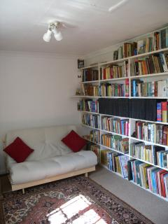 Library with extensive collection of books for all ages/interests.  Futon double sofa bed.
