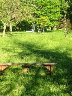 le parc avec la balançoire au fond