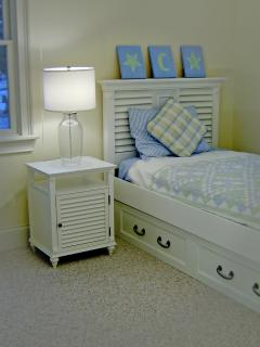 second floor twin bedroom with one pull out trundle bed
