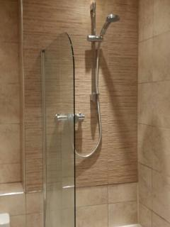 Newly fitted shower in family bathroom