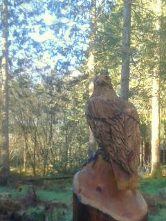 Eagle carving in garden