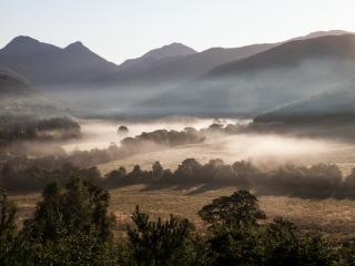 Spectacular scenery from every window. Here is a view of autumnal mist in the glen.
