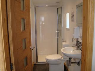 The shower room, with spacious shower.