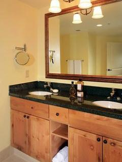 master bath with shower and double sink