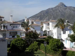 view of community and mountain from terrace