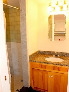Renovated bathroom with lots of lovely tile work on floor and shower