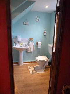 The toilet and shower are located in a near by outbuilding