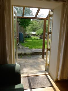 Looking out of the French doors