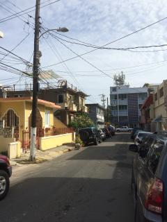 Street view down Pomarrosa Street from Casa Pomarrosa on to Calle Loiza