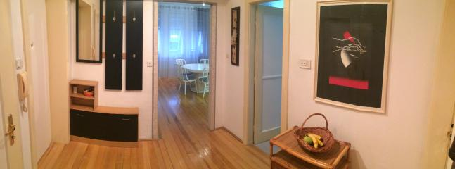 In front You see spacious kitchen, to the right is bathroom and behind me there are two bedrooms.