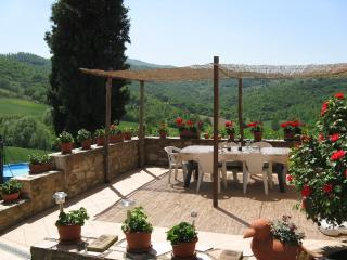 The large sunny terrace where you can enjoy a glass of wine, eat and relax al fresco!