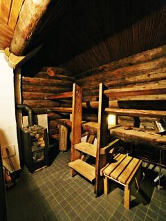 The cottage has a wood-heated sauna