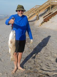 Lucky guest caught some nice fish off the beach, our stairs in the backround
