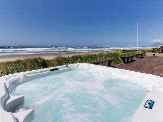 Spacious, dog-friendly, oceanfront home w/ patio & hot tub